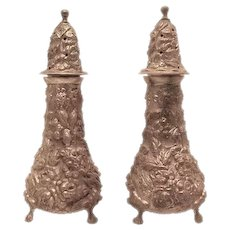 Stieff Sterling Salt & Pepper Shakers Repousse