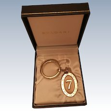 "Bvlgari (Bulgari) Sterling Silver Lucky ""7"" Keychain - New in Box"