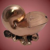 Antique Shell-Form Gilded Silver Plate Spoon Warmer with Gilt Metal Base