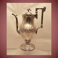 Early S. Kirk Silver Coffee Pot Repousse
