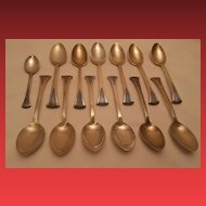 "Tuttle ""Onslow"" Pattern Sterling Silver Teaspoons (12) and Coffee Spoon (1)"