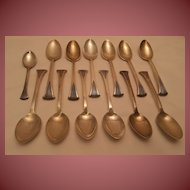 """Tuttle """"Onslow"""" Pattern Sterling Silver Teaspoons (12) and Coffee Spoon (1)"""