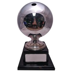 Rare & Unique Sterling Silver Bowling Ball Mounted as Trophy