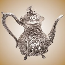 "5-Pc Repousse Sterling Silver Tea Service ""Baltimore Rose"" by Schofield"