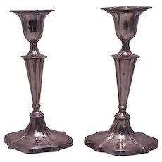 Pair of English Sterling Silver Candlesticks