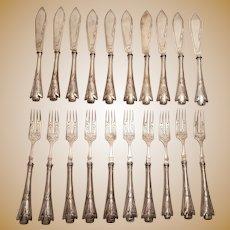 Silver Fish Fork and Knife Set in Jugendstil Design