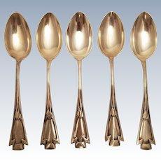Silver Set of Five Tablespoons in Jugendstil Design
