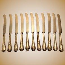 Set of Eleven Silver Dinner Knives in Jugendstil Design