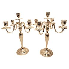 Pair of 5-Light Art Moderne Style Shabbos Silver Candelabra
