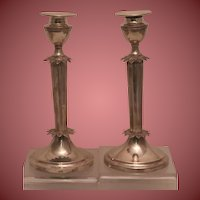 Pair of Art Deco Style Silver Candlesticks