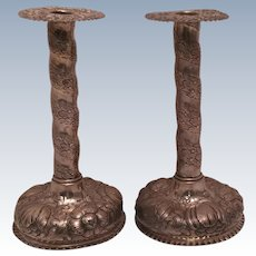 Pair of Repousse Silver Candlesticks