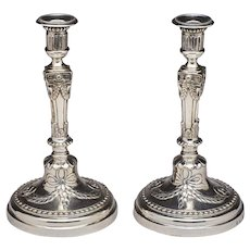Pair of Continental Silver Victorian Candlesticks
