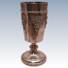 Sterling Silver Kiddush Cup / Wine Cup w/ Grape Cluster Decoration