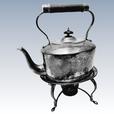 Sterling Silver Victorian Tea Kettle on Warming Stand
