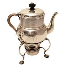 Antique Silver Tea Kettle on Stand by John Lawrence
