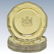 Set of 12 English Silver Gilt Dinner Plates - D & J Wellby, Ltd. London