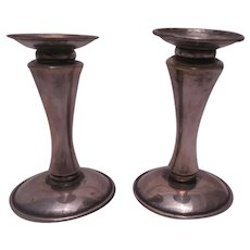 """Pair of Japanese Sterling Silver Candlesticks, 4 1/4"""""""