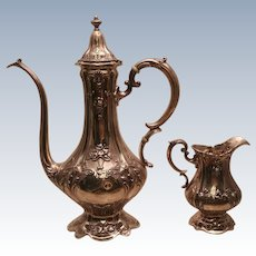 Reed & Barton Sterling Coffee Pot & Creamer, Possibly (?) Francis I