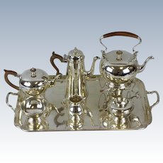 Sterling Silver 7-Piece Coffee & Tea Service with Tray, by Ensko