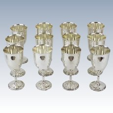 Twelve Substantial Mexican Sterling Silver Wine Goblets