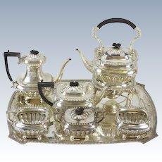 English Sterling Silver 7-Piece Georgian Style Coffee & Tea Set