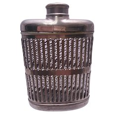 Silver Pierced Metal Glass-Lined Pocket Flask