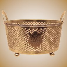 Sterling Footed Basket With Glass Liner