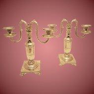 Pair of Tiffany & Co. Silver 2-Light Candelabra