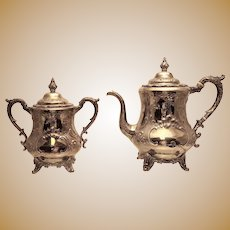 Silver Coffee Pot and Sugar Set by W Gale & Son