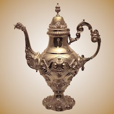 Portuguese Silver Coffee Pot In Shell and Scroll Motif ca 1938