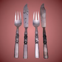 Two Georg Jensen Fish Serving Sets - 4 pieces - Scroll Pattern