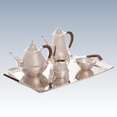 Danish Just Andersen Sterling Tea & Coffee Service With Tray 5pc