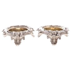 Pair of Gilt Sterling Silver Open Salts by Wilkinson in Victorian Style