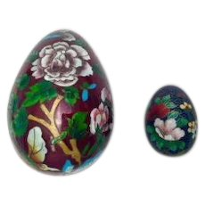 Japanese Cloisonne Flowers and Butterflies Pair of Eggs