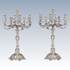 Monumental Pair of 19th Century Austrian Silver Nine Light Candelabra
