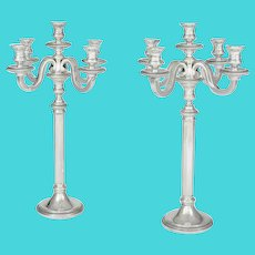 Pair of French Silver Art Deco Candelabra by Keller