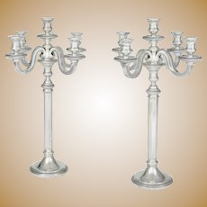 Pair of French Silver Art Deco Candelabra