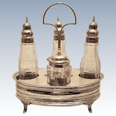 Sterling And Glass Cruet For Oil and Vinegar