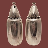 Sterling Danish Muffineers / Sugar Shakers With Waved Lids by Cohr