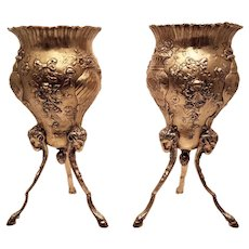 Pair of Silver and Vermeil Footed Vases