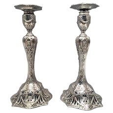 Pair of Sterling Silver Candlesticks by Theodore B. Starr, 20th Century