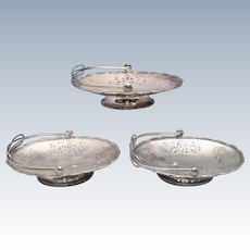 Three Chinese Silver Baskets With Floral Piercing by Nanking