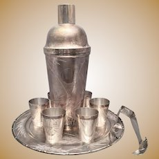 Chinese Silver Cocktail Shaker Set With Bamboo Motif
