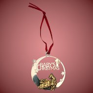 Silver Christmas Ornament In Pooh Design Baby's 1st Christmas