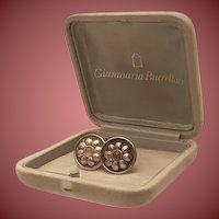 Buccellati Sterling Cufflinks With Flower Motif and Gem
