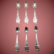 Silver Baby Spoons With SNOOPY Motif by Lunt Set of Six