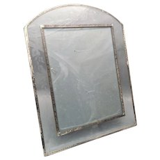 Unique Glass and Sterling Picture Frame With Floral Chasing