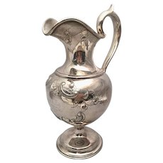 Silver Ewer With Flower and Scroll Design by PLK Circa 1850