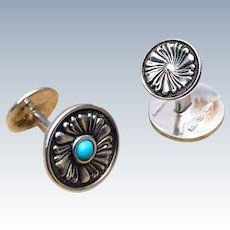 Buccellati Silver and Turquoise Cufflinks