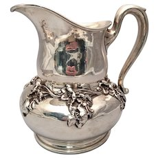 Sterling Water Pitcher by Woodside Co With Dimensional Flowers